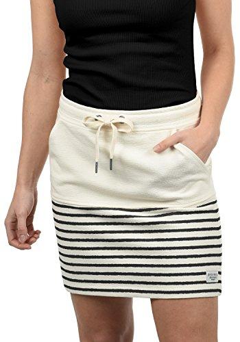 DESIRES Pippa Damen Kurzer Rock Sweatrock Minirock Mit Streifen-Muster Aus 100% Baumwolle, Größe:M, Farbe:Black (9000) (Jean-mini-rock)