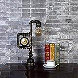 FHTD Vintage Schmiedeeisen Metall Tischlampe E27 Edison Rohr Tischlampe Steampunk Tischplatte Akzent Lampe Nacht Wohnzimmer Schlafzimmer Mit Uhr Dekoration