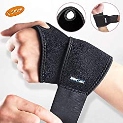 RHINOSPORT Wrist Bandages Wrist Wraps Wrist Bandage for Fitness, Bodybuilding, Weight Training & Crossfit for Women and Men Wrist Protectors Wrist Support (Black, Left & Right)