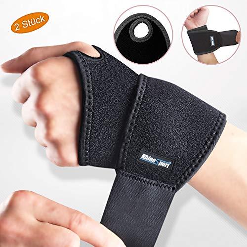 RhinoSport Handgelenk Bandagen Wrist Wraps Handgelenkbandage für Fitness, Bodybuilding, Kraftsport & Crossfit für Frauen und Männer Handgelenkschoner Handgelenkstütze (Schwarz, Linke & Rechte)