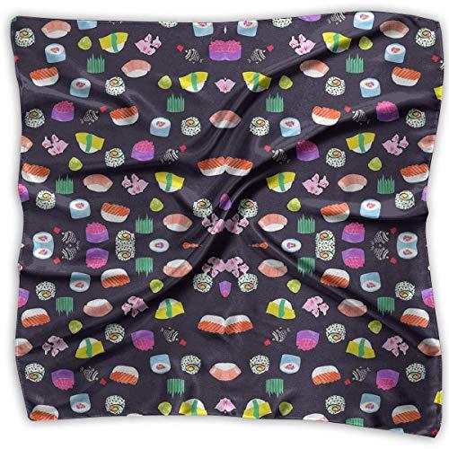Womens Times Square (Women Fashion Soft Square Sushi Time Nom Nom Kerchief Scarf Satin Silk Chiffon Head Neck Multiuse Polyester Scarves)