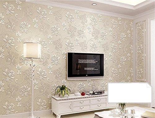 H&M Wallpaper Thicker Pastoral Style Selbstklebendes Tapete 3D Stereo Non-Woven Wasserdichtes Wohnzimmer Restaurant TV Wand Schlafzimmer Bekleidung Shop Wallpaper -53 cm (W) * 5 m (L), beige -