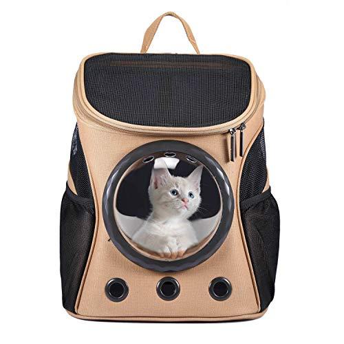 Petcomer Mochila para Gatos Portador Capazo de Mascotas Bolsas Lona para Perros Pequeño Conveniente para Viajar Caminando Marrón