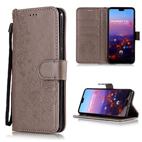Roreikes Huawei P20 Hülle, Geprägte Schmetterling Pusteblume Muster Klapphülle TPU Stoßfänger Handyhülle Schutzhülle mit kartenfach Lederhülle Magnetverschluss Ständer für Huawei P20 Smartphone