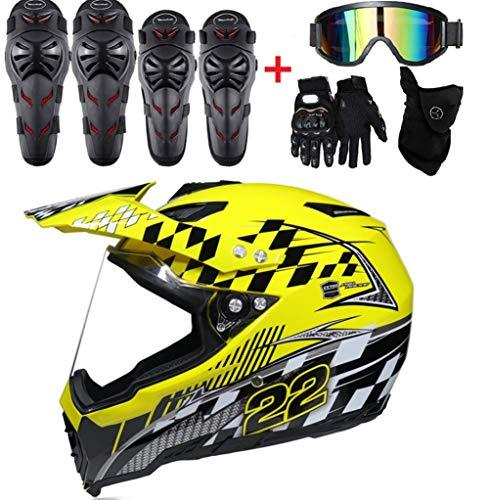 Casco da Motocross Adulto Casco Moto MX ATV Casco da motorino ATV D.O.T Certified Multicolor con Goggles Guanti Mask Kneepads, gomitiere (Set da 9 Pezzi),6,S