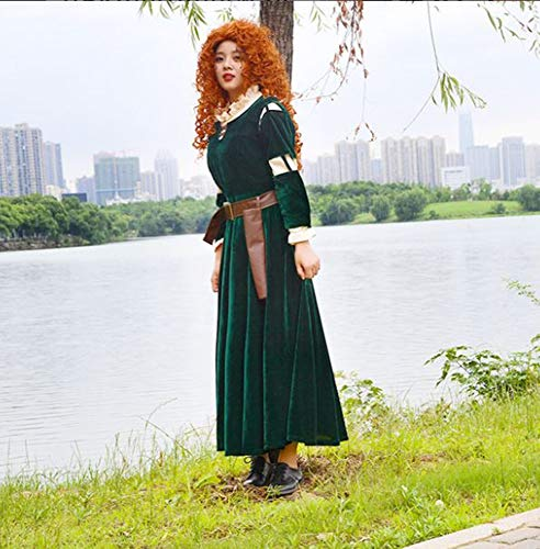 Perücke Kostüm Merida - I TRUE ME Brave Princess Merida Dress and Wigs Cosplay Costume Dress Gown Outfit,Grün,S