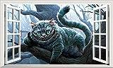 Alice im Wunderland Cheshire Katze V008Alice Through the Looking Glas Mad Hatters Tee Party Voll Farbe Magic Fenster Bild Wandtattoo Wandbild Poster Größe 1000mm breit x 600mm tief (groß) V003