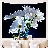 Wandbehang Strandtuch Couch Cover Tagesdecke Yoga-Matte Tischdecke Wohnzimmer Weiße Blume 150x130cm