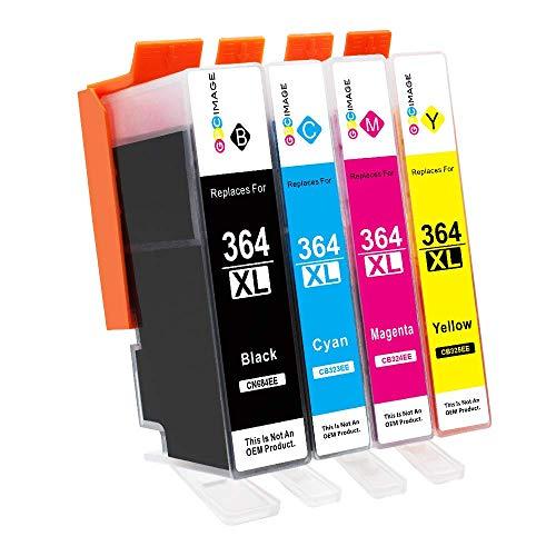 GPC Image 364XL- 364-XL Cartucce d'inchiostro Compatibili per HP Photosmart 5510 5520 6510 6520 7510 B8550 B110c B010a C510A C5370 6520e 7510 7520(1Nero,1Ciano,1Magenta,1Giallo,4-Pacco)