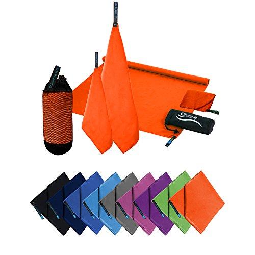 COLUMBIA-ISLAND Microfaser Handtücher | 70x140cm + 30x50cm | Mikrofaser Handtuch schnelltrocknend Badehandtuch Reisehandtuch für Camping & Outdoor | Badetuch | Sport-Handtuch 2er Set Orange inkl. Tragetasche