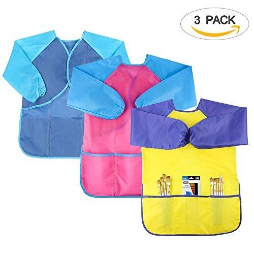SIMPZIA Unisex Baby wasserdicht smock kind kunst schürze overall mit langarm, breathable overalls mit geräumigen taschen mittel 3 pack -