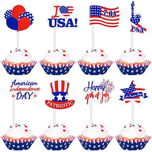 Amosfun Independence Day Cake Topper Amerikanischen Nationalfeiertag Flagge Muster Cupcake Topper. Juli Kuchen Dekoration Patriotische Partei Liefert 72 (Partei Dekorationen Und Liefert)