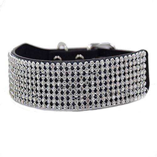 Generisches Diamant Hundehalsband Voll Bling Strass Halsbänder Wild Leder Luxus Design Verstellbar S M für Klein Mittlere Hunde, Schwarz S Voller Bling