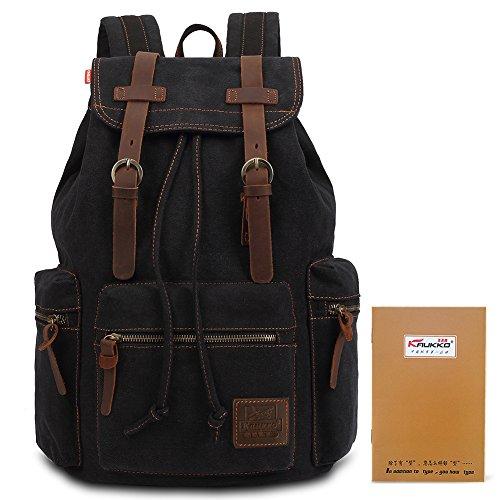 Imagen de kaukko  elegante en tela  college school unisex bolsa de hombro excursionismo y viajes(negro)