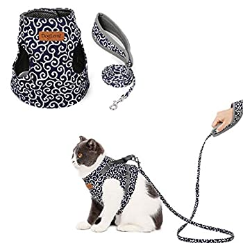 Kismaple Chaton Chats Harnais avec Laisse, Confortable Réglable Doux Mesh Respirant Harnais pour Chat Animal (S, Bleu)