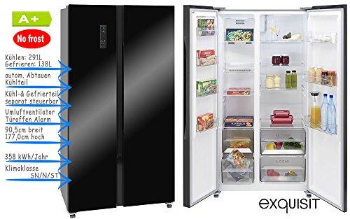 Kühlgefrierkombination Side by Side | Schwarz Glanz | NoFrost | LED Beleuchtung im Kühl- und Gefrierbereich | Umluftventilator | LED Display mit Alarmfunktion | Tastenverriegelung | Holidayfunktion