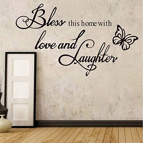 YSFU Stickers muraux Bénis Cette Maison avec Amour Et Rire Famille Amour Béni Citations Home Decor Vinyle Autocollants Muraux Chambre Sticker