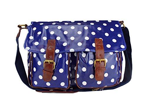 Saute Styles, Borsa a secchiello donna medium Dark Blue Polka Dot Bag