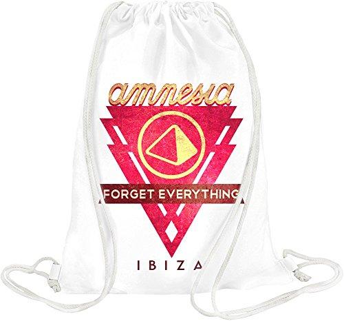 Amnesia - Forget Everything In Ibiza Red Logo Drawstring bag
