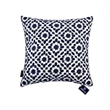 Aitliving Cushion Covers for Sofa Bed Mina Slate Blue Decorative Pillow Cover 1 pc of Dark Blue Cushion Covers Cotton Canvas Base 45.5 x45.5 cm (18x18 inches)