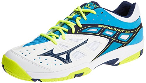 Mizuno Break Shot Ex AC, Scarpe da Tennis Uomo Multicolore (White/Bluedepths/Divablue)