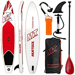 Murtisol 10'5 ''Gonflable Stand Up Paddle Board (25in Width), PVC Ultra-épais Durable, Plate-Forme antidérapante, Accessoires Haut de Gamme, Pompe à Double Action, Pagaie Ajustable,Rouge