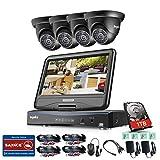 SANNCE Videoüberwachung Überwachungskamera Set mit 10,1 Zoll Monitor 4CH 720P All in one DVR Video Überwachungssystem mit 4PCS Außen 720P Kameras für innen und außen Bereich mit 1TB Festplatte