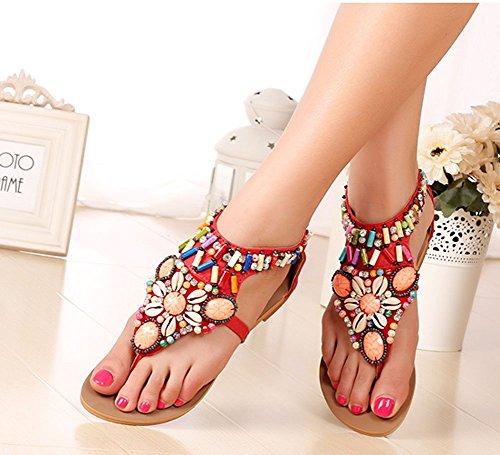 Wealsex Sandale Plate Orthopedique Perle Palet Strass Bijou Eté Bohême Glissement Tong Chaussures D'été Chaussures de piscine et plage Bleu Rouge Noir Blanc Femme Rouge