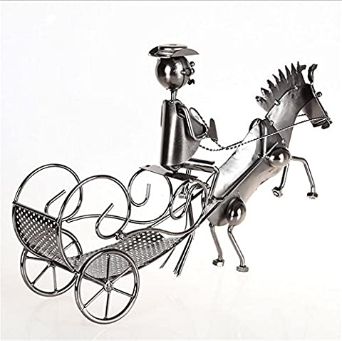 xiuxiandianju Continental Iron Creative Horse and buggy Wine Rack For