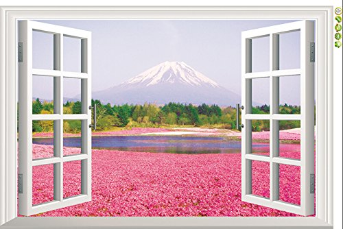 Ecloud Shop Ventanas 3D del hermoso paisaje Vinilo Room Decor Wallpaper impermeable