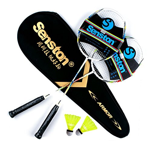 Senston Two Pieces Graphite Shaft Badminton Racquet,Badminton Racket Set,Including Badminton Bag,Set of 2,Red and Blue+2Badminton