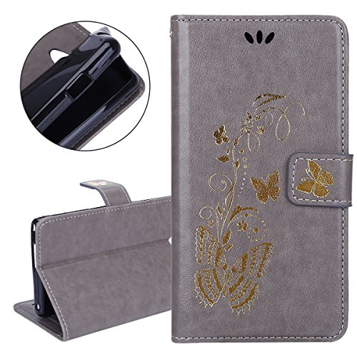 Custodia Sony Xperia M2 - Cover Sony Xperia M2 - ISAKEN Accessories Cover in PU Pelle Bronzing Oro farfalla Leather Custodia Rigida Libro Bookstyle Wallet Flip Portafoglio Copertura Anti Slip Protezio bronzante Grigio