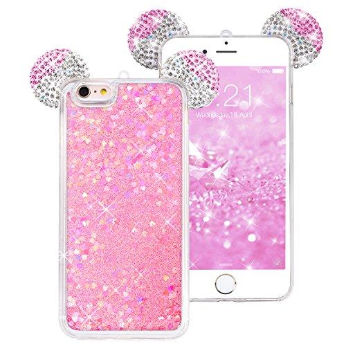 WE LOVE CASE iPhone 6 / 6s Hülle Weich Silikon Kristall klar Maus Ohr Silber iPhone 6 6s Schutzhülle Handyhülle Im Transparent Treibsand Quicksand Glitzern Funkeln Bling Sparkle Diamant Durchsichtig L Rose Gold