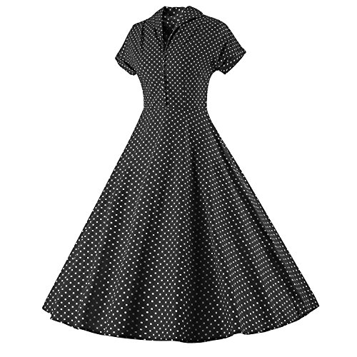 LUOUSE Damen 1950er Vintage Solid Color Plissiert Swing Kleid V074-Schwarz
