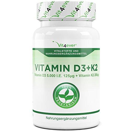 Vitamin D3 5000 I.E + Vitamin K2 200 mcg Menaquinon MK7 Depot - 365 Tabletten - 99{e8824cb84074e565fa13a88d0aac3004dce669b28401682eed25a753b9eb3ffc} All-Trans - Laborgeprüft - Alle 5 Tage eine Tablette - Vegetarisch - Hohe Bioverfügbarkeit - Vit4ever