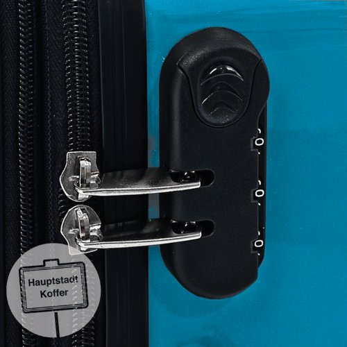 HAUPTSTADTKOFFER – Alex – Set of 3 Hard-side Luggages Glossy Suitcase Hardside Spinner Trolley Expandable (S, M & L) Cyanblue
