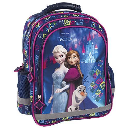 Disney Frozen - Die Eiskönigin ELSA Anna Olaf Rucksack Kinderrucksack (PL15) mit Hauptfach, Nebenfach und Frontfach, incl. Getränkenetz, 38 x 28 x 18 cm, blau/lila