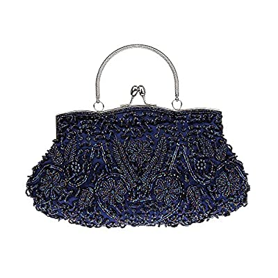 VENI MASEE Collection Antique Floral Seed/Bead / Sequin Soft Clutch Evening Bag, Exquisite Seed Bead Sequined Leaf Evening Clutch Purse Handbag, Gift Ideas-Colors Various