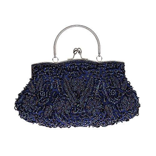 Colección Antique Floral Seed / Bead / Sequin Soft Clutch Evening Bag, Exquisite Seed Bead Sequined Leaf Evening Clutch Handbag, Ideas de regalos - Varios colores