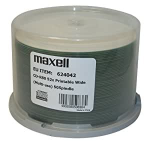 CD-R 80 Min/700 Mo Maxell 52x imprimable Encre (white fullprintable) en cakebox 100 pièces