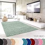 Teporio Shaggy-Teppich | Flauschiger Hochflor fürs Wohnzimmer, Schlafzimmer oder Kinderzimmer | einfarbig, schadstoffgeprüft, allergikergeeignet (Mint Grün - 140 x 200 cm)