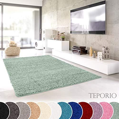 Teporio Shaggy-Teppich | Flauschiger Hochflor fürs Wohnzimmer, Schlafzimmer oder Kinderzimmer | einfarbig, schadstoffgeprüft, allergikergeeignet (Mint Grün - 60 x 90 cm) - Grüner Läufer Teppich