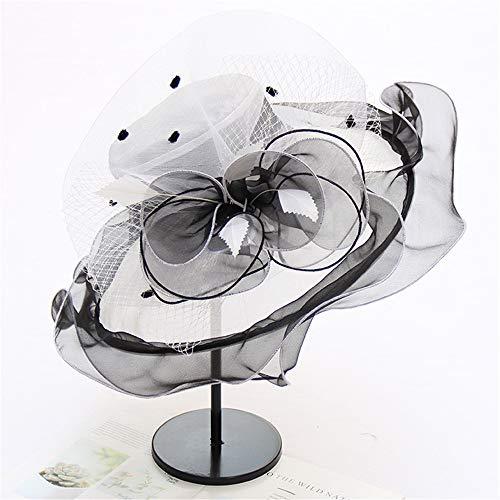 Organza breiter Krempe Braut Kappe UV-Anti Kirche Derby Hut Fascinator Frauen Tea Party Hochzeit Hut,White,OneSize -