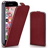 moex iPhone 6S | Hülle Dunkel-Rot 360° Klapp-Hülle Etui thin Handytasche Dünn Handyhülle für iPhone 6/6S Case Flip Cover Schutzhülle Kunst-Leder Tasche