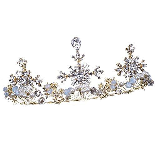 XZJX Bridal Tiara Große Krone Gold Halskette Kleid Brautkleid Zubehör Styling Krone Hochzeit Krone...