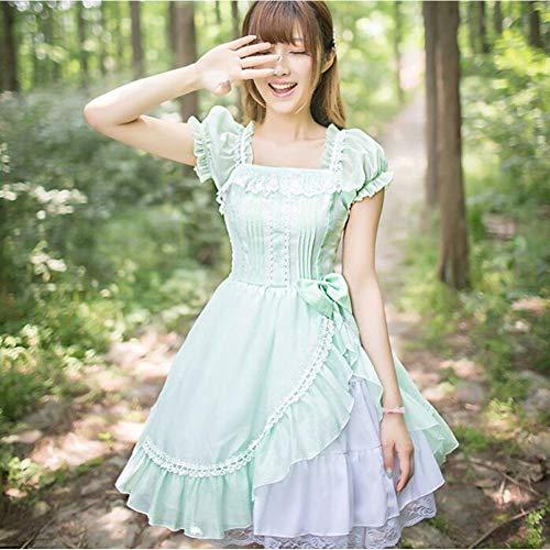 QAQBDBCKL Prinzessin Süße Lolita Kleid Kleine Frische Spitze Bowknot Puff Sleeve Viktorianischen Kleid Kawaii Mädchen Gothic Lolita Op Loli Cos Puff Sleeve Swing
