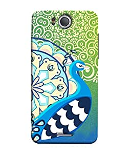 PrintVisa Designer Back Case Cover for InFocus M530 (Peacock feather Green Decoration Colorful)