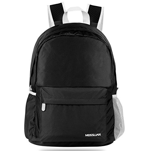Imagen de mosslian  ultraligera plegable bolsa de viaje, ideal para senderismo, compra, ciclismo y escalada negro, l