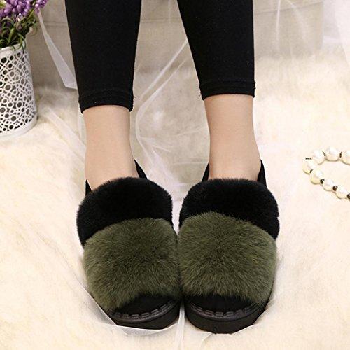 DM&Y 2017 fourrure de lapin r¨¦el semelles ¨¦paisses chaussures plates Pois chaussures femmes fond mou cor¨¦enne Green
