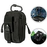 ivencase® Paquete de Bolso/Bolsa de cintura, Riñoneras para Herramientas Pequeñas de Multiusos al Aire Libre con Mosquetón de Aluminio Gratuito - Negro